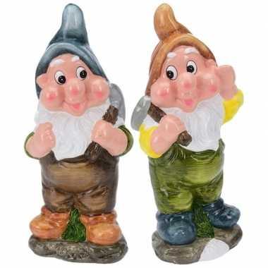 2x tuinkabouters 30 cm mijnwerkers blauw/bruin