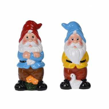 Set van 2x tuinkabouters van 20 cm - rode en blauwe muts