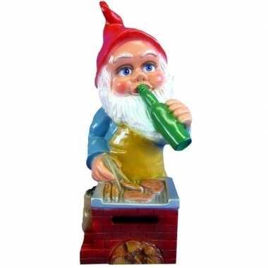 Tuinkabouter beeldje bbq met biertje 45 cm