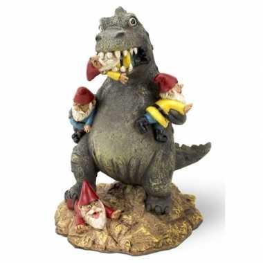 Tuinkabouter met t-rex dino 23 cm