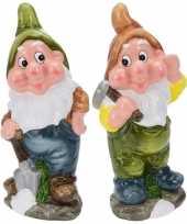 2x tuinkabouters 30 cm mijnwerkers groen bruin