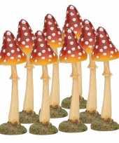 8x decoratie paddenstoel vliegenzwam 12 cm