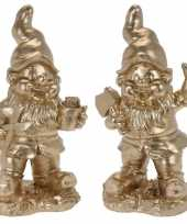 Set van 2 gouden tuinkabouters glenn en guido 33 cm